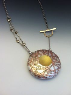 Necklace. Fine silver, copper, 14K gold, sterling.