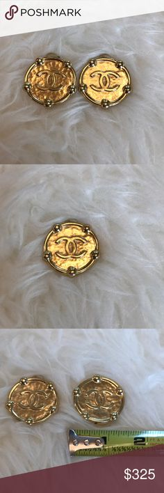 Authentic Chanel Goldtone Logo Clip On Earrings Authentic and vintage. Chanel logo gold tone clip on earrings. Stamped Made in France. 25th Collection. CHANEL Jewelry Earrings
