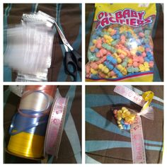 Candy bags made the easy way!! Mini plastic bags (hobby Lobby), candy, string (dollar tree) ! Very Affordable and CUTE!