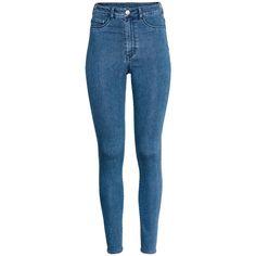 Super Skinny High Jeggings 19,99 ($20) ❤ liked on Polyvore featuring pants, leggings, jeans, bottoms, calça, pantalones, skinny leg pants, blue denim leggings, denim jean leggings and blue skinny pants