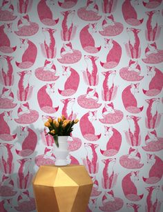Feathr Day Dreaming Wallpaper by Teija Vartiainen B&q Wallpaper, Feather Wallpaper, Painting Wallpaper, Original Wallpaper, Animal Wallpaper, Stunning Wallpapers, Beautiful Wallpaper, Fox Print, Contemporary Wallpaper