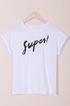 Letter Round Neck Short Sleeves T-Shirt WHITE: Tees   ZAFUL
