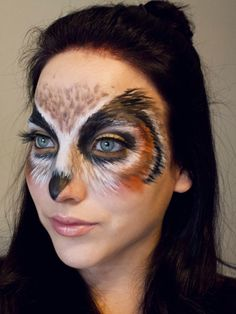 25 Beautiful Halloween Makeup Ideas to Look Fabulous - Flawssy Owl Makeup, Bird Makeup, Animal Makeup, Makeup Art, Makeup Ideas, Skull Makeup, Makeup Geek, Beautiful Halloween Makeup, Halloween Face Makeup