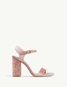 be0ee0fb3fdb0 Velvet sandals with glitter heel - All