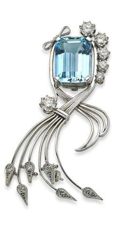 An aquamarine and diamond spray brooch Set with an octagonal-cut aquamarine to trailing sinuous foliage set with scattered round brilliant-cut diamonds, with a bow accent, length 65mm, the aquamarine estimated to weigh approximately 9.24cts, the diamonds estimated to weigh approximately 1.42cts in total