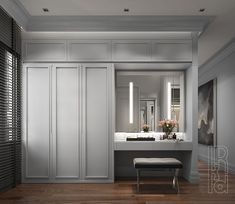 Good colour cabinetry for master - Wardrobe Design Bedroom, Master Bedroom Closet, Bedroom Wardrobe, Home Bedroom, Room Decor Bedroom, Wardrobe Wall, Wardrobe With Dressing Table, Dressing Table Cabinet, Dressing Room Design
