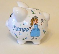 Piggy Bank Personalized Princess with by LittleWhiteDogStudio, $39.00