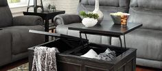 Gavelston - Black - Lift Top Cocktail Table by Signature Design by Ashley. Get your Gavelston - Black - Lift Top Cocktail Table at 4 Seasons Furniture, Valentine NE furniture store. Furniture Mall Of Kansas, City Furniture, Table Furniture, Living Room Furniture, Outdoor Furniture Sets, Modular Furniture, Furniture Ideas, Living Rooms, Furniture Direct
