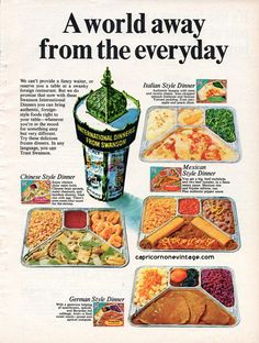 Vintage Swanson TV Dinners 1950s | Vintage 1968 Swanson TV Dinner Magazine Ad Kitsch Food Advertising ...