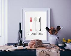 Digital Download Kitchen Utensil Love Fork Knife by indulgemyheart