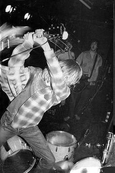 Kurt Cobain smashing his guitar