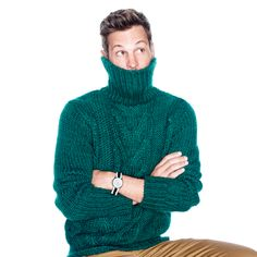 J.Crew Gift Guide: men's cable turtleneck sweater.