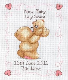 My Little Baby Birth Record - Cross Stitch Kit. I'm making it for our new baby girl, Isabella :) Baby Cross Stitch Kits, Cross Stitch Heart, Cute Cross Stitch, Cross Stitch Cards, Cross Stitch Samplers, Cross Stitch Designs, Cross Stitching, Cross Stitch Embroidery, Cross Stitch Patterns