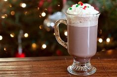 Peppermint Patty hot chocolate made with peppermint schnapps