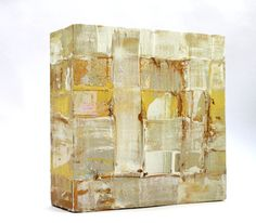 Abstrakt auf Leinwand 15x15x5 cm Bild beige by AtelierMaltopf, $30.00