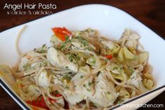 I'm eating the leftovers of this right now. YUM! Angel hair pasta with chicken & artichokes. #healthy #recipe #pasta