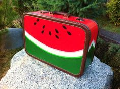 Vintage 50's Cheney Watermelon Suitcase Hand Painted in Mexico Signed