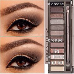 Steps for Smokey Brown Eyeshadow Request using the Urban Decay Naked Palette 2 prime eye w/ urban decay primer potion; pat CHOPPER on lid blend out SNAKEBITE in crease BOOTYCALL to brow bone w/ an angled shading brush; apply BLACKOUT TO V creas Makeup Black, Love Makeup, Makeup Looks, Awesome Makeup, All Things Beauty, Beauty Make Up, Hair Beauty, Beauty Tips, Beauty Products