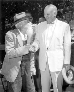"This 1950s Florida Memory photograph shows William ""Uncle Bill"" Lundy of Crestview shaking hands with Congressman Robert L.F. Sikes. In a quote from a 2014 article that included a section on Lundy, people who knew him said, ""... he was a father, farmer, hunter, traditionalist, trader, storyteller, soldier, salesman, survivor and bad driver."" He died Sept. 1, 1957."