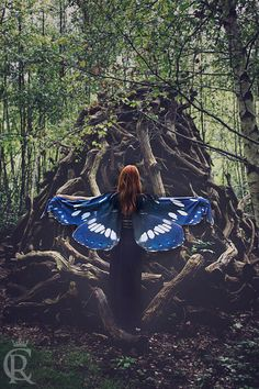 Blue Butterfly Fairy cape cloak blue and black isis wings costume short small