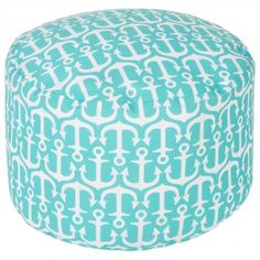 100% Polyester Made in U.S.A. Outdoors Safe Color (Pantone TPX): Ivory (11-4301), Slate (14-4510). http://www.plumgoose.com/surya-out-to-sea-sky-blue-pouf.html
