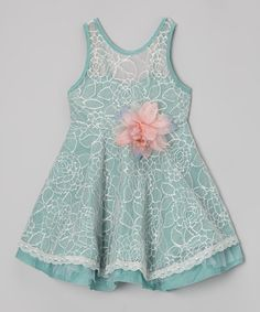 Loving this Green & Pink Flower Swing Dress - Toddler & Girls on #zulily! #zulilyfinds {pinned by http://eco-babyz.com}