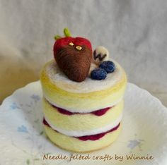Needle+felted+cake+Strawberry+short+cake+by+FunFeltByWinnie,+$38.00