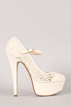 Bring back the childhood memories with this beautiful platform pump! Featuring a floral lace design upper, almond toe, scooped vamp, tribute platform, and stiletto heel. Finished with lightly padded insole and adjustable Mary Jane strap with buckle closure. #urbanog