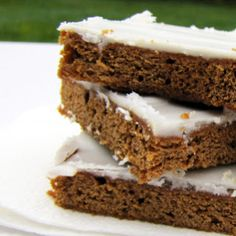 Frosted Molasses Cookie BarsFrosted Molasses Cookie Bars.  Hands down, my favorite of all cookie bars.Picture a molasses cookie.  But much fudgier and more moist.Topped with a delicious g…