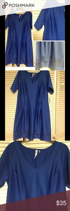 """Blue scuba dress Cute dress with sleeves. Laser cut hem. Pleats create a great silhouette. Pull on type. A no fuss dress great for everyday or special occasion. Blue color is amazing. Fabric provides stretch. 44"""" bust 40"""" waist 41"""" length. NY Collection Dresses"""