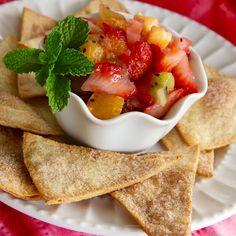Breakfast today was Simple Strawberry Salsa served with freshly baked cinnamon-sugar tortilla chips.  #MyAllrecipes   #AllrecipesAllstars  #AllrecipesFaceless    #StrawberrySalsa  #breakfast