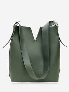 Curve 2 Pieces Shoulder Bag Set - GREEN