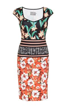 Floral Sunrise Fitted Mini Dress by CLOVER CANYON Now Available on Moda Operandi