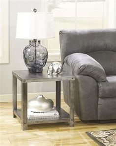 Hattney Metal Metal Square End Table
