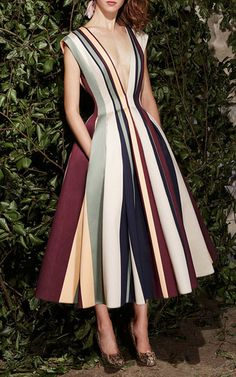 Striped Paneled Jacquard Deep V-neck A-line Dress by Paula Ka