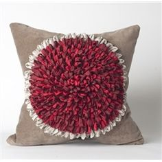 Sunflower Pillow In Stone/Red