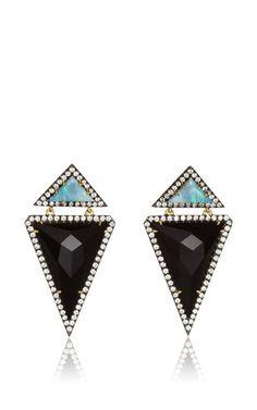 One Of A Kind Onyx Triangle And Opal Drop Earrings by Jemma Wynne for Preorder on Moda Operandi