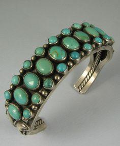 Vntg Navajo LEONARD PLATERO 28 Turquoise Cluster Bracelet