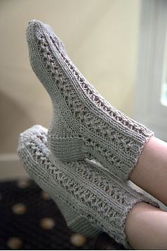 Ravelry: F651 Lace Bed Socks pattern by Plymouth Yarn Design Studio