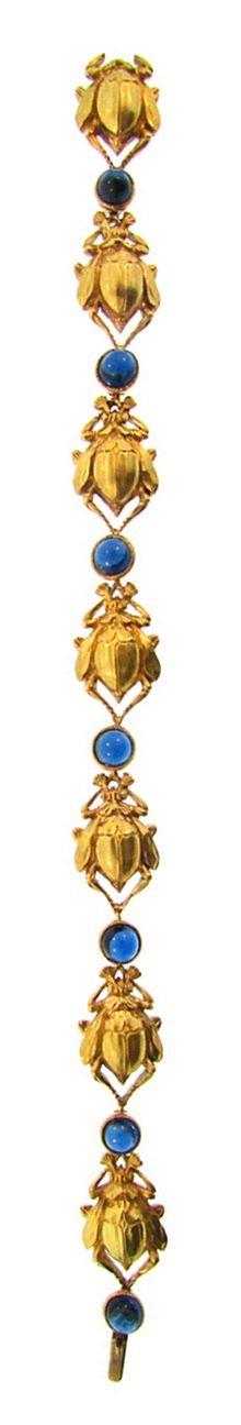 Egyptian Revival Gold and Sapphire Scarab Bracelet American Circa 1890