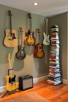 Office Home Studio Setup, Music Studio Room, Guitar Room, Guitar Wall, Home Music Rooms, Music Decor, Room Decor, House Design, Interior Design
