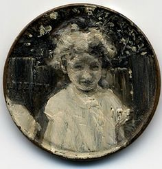 """oil painting on copper penny, 1951 """"Kisses and Ghosts"""" Jacqueline Lou Skaggs,"""