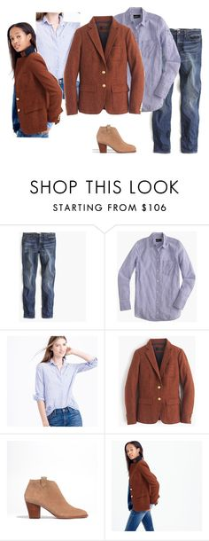 """""""Rhodes Copper Multi Boyshirt True Blue Otter Billlie Boots"""" by justvisiting ❤ liked on Polyvore featuring J.Crew, Madewell, women's clothing, women, female, woman, misses and juniors"""