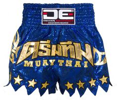 DE BLUE WITH GOLDEN STARS MUAY THAI SHORTS [DEMTS-032]