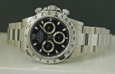 """New 2010 Stainless ROLEX DAYTONA Black Dial- if i was to get a Daytona this would b the """"One"""""""