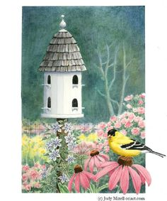 Birdhouse with Goldfinch