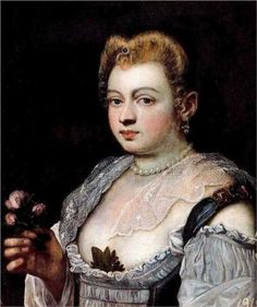 Jacopo Robusti called, Il Tintoretto, Venetian School, late 16th century - Allegorical portrait of a woman as Flora (possibly the courtesan Veronica Franco)