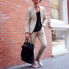 Tan #suit and black t shirt  by @louisnicolasdarbon [ http://ift.tt/1f8LY65 ]