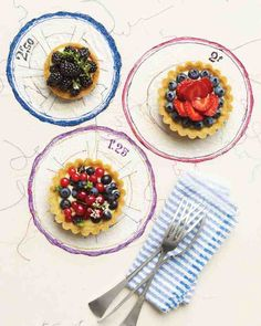 Berries and Cream Tartlets - Perfect for a party, these individual fresh-fruit desserts are easy to customize with whatever berries look ripe and tempting.