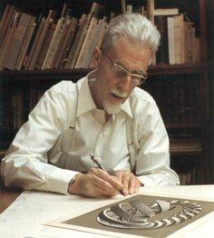 Maurits Cornelis Escher was een Nederlandse kunstenaar, die bekend is om zijn houtsneden, houtgravures en lithografieën, waarin hij vaak speelde met wiskundige principes.